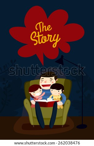 family reading. father reading to kids. vector illustration - stock vector
