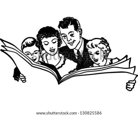Family Reading Newspaper - Retro Clip Art Illustration - stock vector