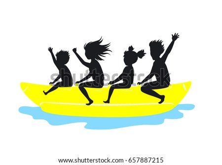 family riding banana boat silhouette vector stock vector hd royalty rh shutterstock com  sailboat silhouette clip art