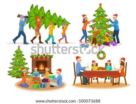 familys christmas winter activities set man stock vector 500073688 shutterstock - Xmas Activities