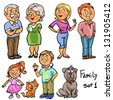 Family - set 1, Hand drawn comic family members isolated, sketch - stock vector