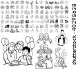 Family set of black sketch. Part 3-0. Isolated groups and layers. - stock vector