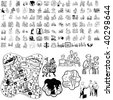 Family set of black sketch. Part 5-0. Isolated groups and layers. - stock vector