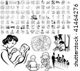 Family set of black sketch. Part 1-3. Isolated groups and layers. - stock vector