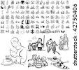 Family set of black sketch. Part 5-7. Isolated groups and layers. - stock photo