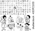 Family set of black sketch. Part 1-10. Isolated groups and layers. - stock vector