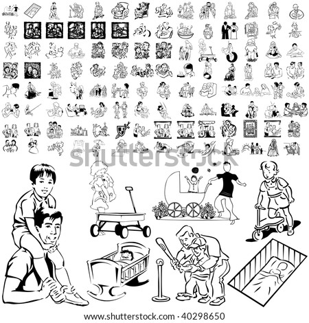 Family set of black sketch. Part 7-0. Isolated groups and layers. - stock vector