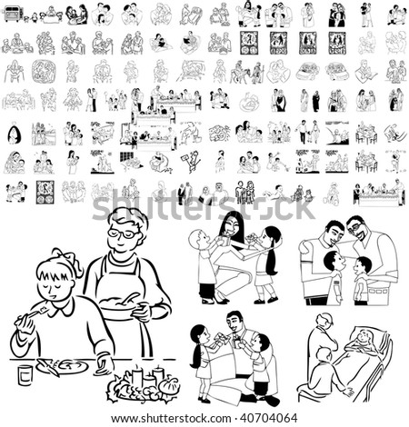 Family set of black sketch. Part 6-1. Isolated groups and layers. - stock vector