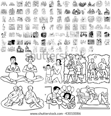 Family set of black sketch. Part 3-8. Isolated groups and layers. - stock vector