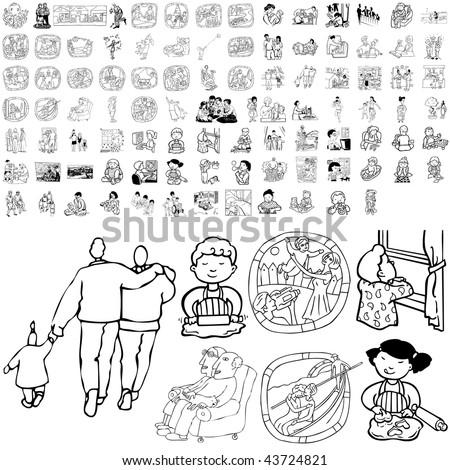 Family set of black sketch. Part 1-11. Isolated groups and layers. - stock vector
