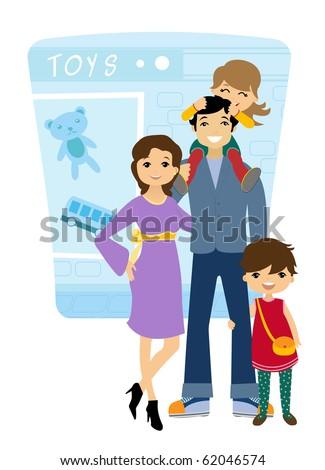 Family shopping - stock vector