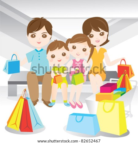 Family shopping during sales in shopping complex - stock vector
