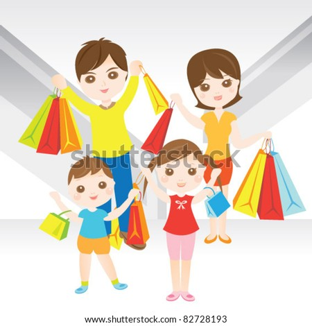 Family shopping happily - stock vector