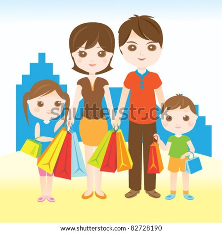 Family shopping happily in the town - stock vector