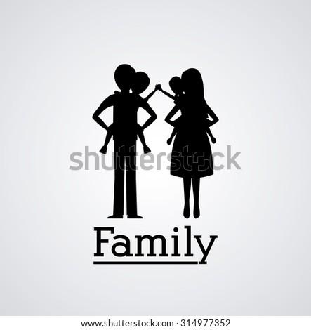 Family silhouette digital design, vector illustration eps 10 - stock vector