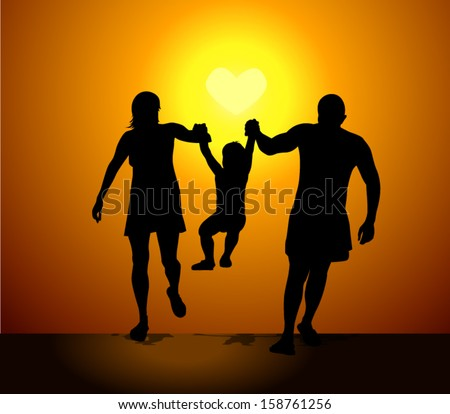 Family silhouette mother father child at sunset.  - stock vector