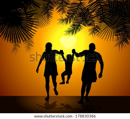Family silhouette mother father child at sunset. Vector - stock vector