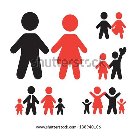 family silhouette over white background vector illustration - stock vector