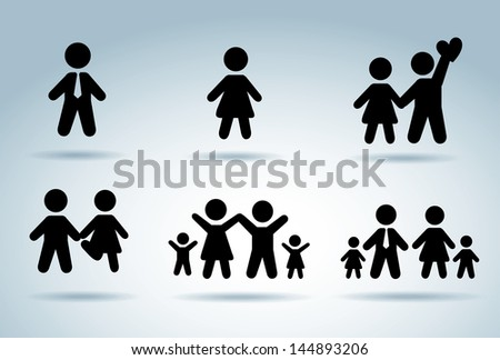 family silhouettes over blue background vector illustration - stock vector