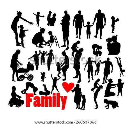 family silhouettes. Vector - stock vector