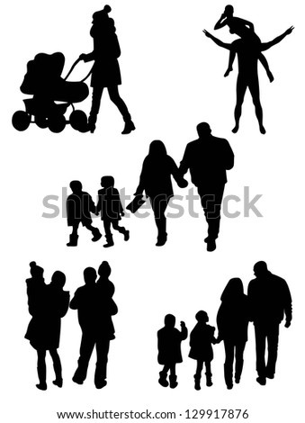 Family Silhouettes . Vector illustration