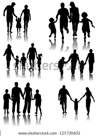 Family Silhouettes with shadow. Vector - stock vector