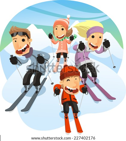Family Skiing, with mother, father and sons. Vector illustration cartoon. - stock vector