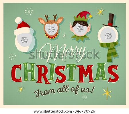 Family Spirit Christmas Card. Place your photos on christmas characters. Editable EPS10. - stock vector