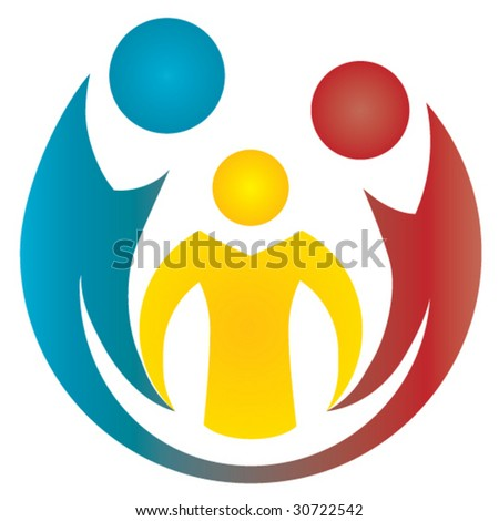 Family. Stylized depiction of parents and child. - stock vector