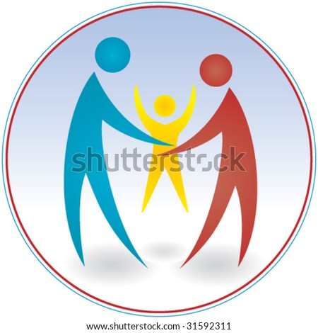 Family. Stylized depiction of parents and child - 3 - stock vector