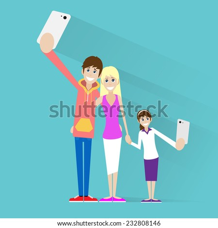 family taking selfie photo on smart phone couple with girl child vector illustration - stock vector