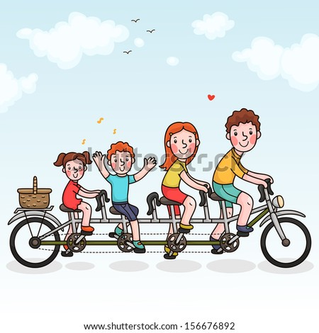 Family tandem bicycle. Happy family. Summer time. - stock vector