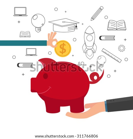 Family teaching child to save money and financial planning for future. Cartoon vector Illustration. - stock vector