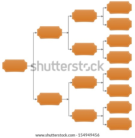Family, team tree chart diagram with arrow line and shadow on white background. - stock vector