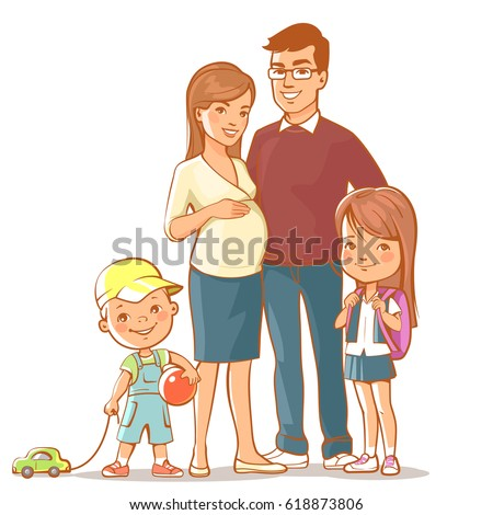 Family together. Pregnant woman with husband, teenage daughter and five year old son. Father, mother, sister, brother. Young woman expecting baby with hand on belly. Vector illustration.