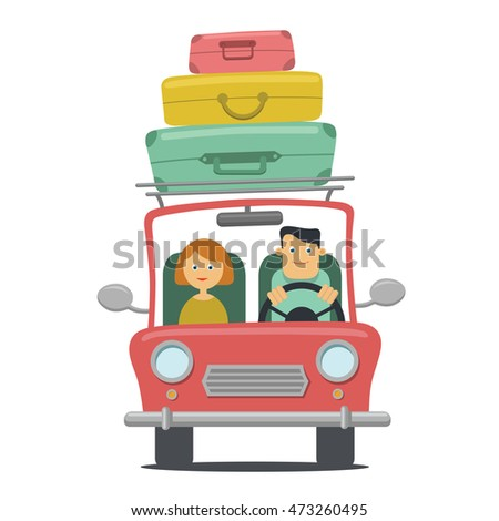 Family Travel By Car Vector Illustration Stock 473260495