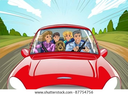 family travel in the car vector illustration - stock vector