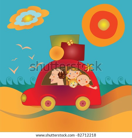 family travels by car - stock vector
