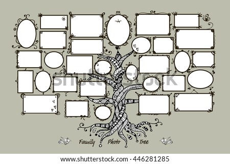 Family Tree Template Picture Frames Stock Photo Photo Vector