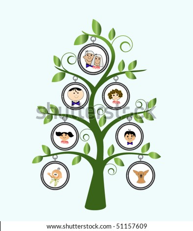 Family tree with cartoon family