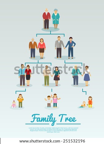 Family tree with people avatars of four generations flat vector illustration - stock vector