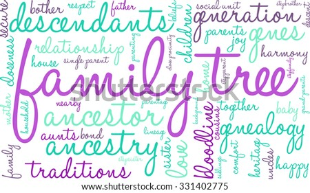family tree word cloud on white stock vector 331402775 shutterstock