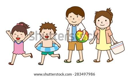Family trip / sea bathing - stock vector