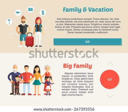 Family Vacation and Big Family. Flat Design Illustration Concept for Web Banners - stock vector