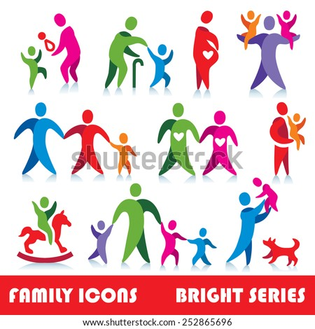 Family vector icons, bright series