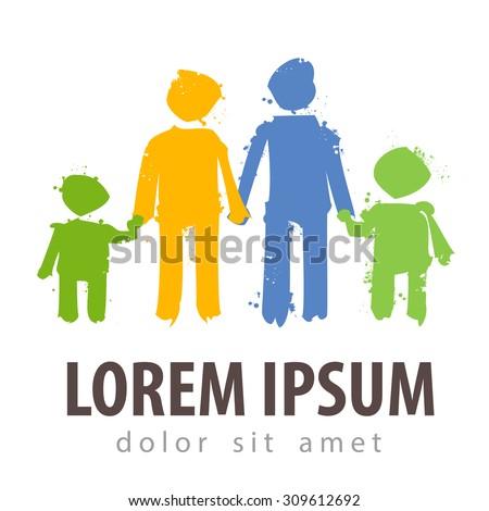 family vector logo design template. parents or children icon - stock vector