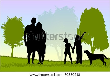 Family walk with the dog in the park - stock vector