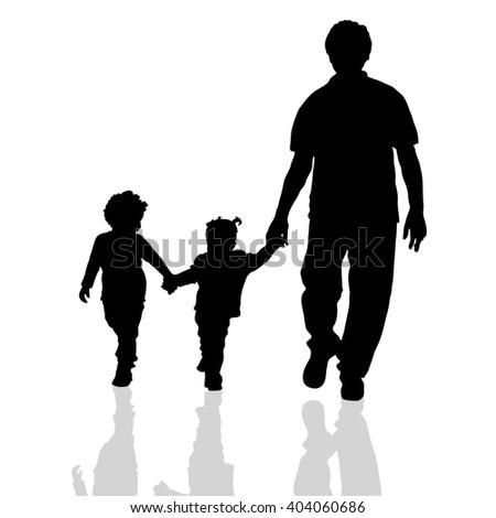 family walking silhouette two children on white background - stock vector