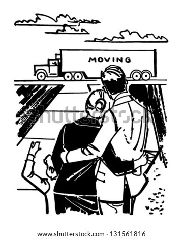Family Watching Moving Van - Retro Clip Art Illustration