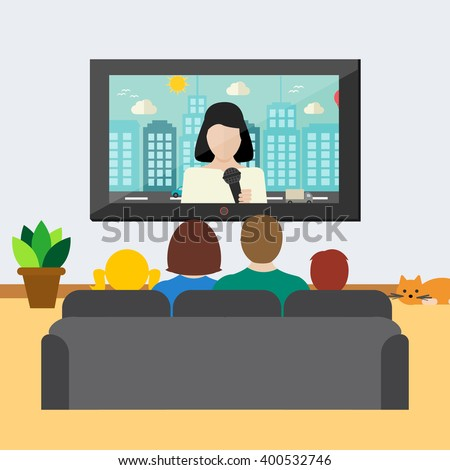 Family watching news on tv, vector illustration. Big family sitting on the couch in the room and watching television - stock vector